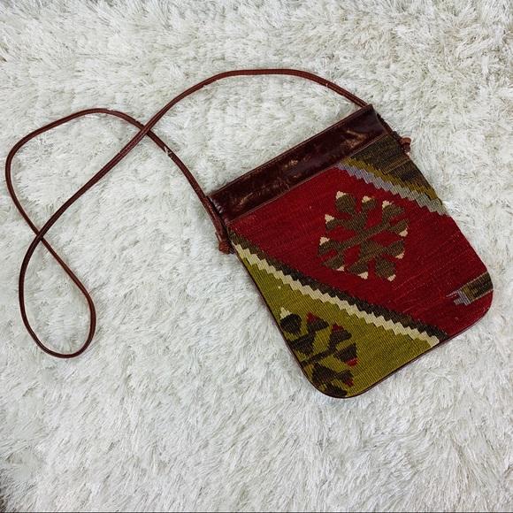 Vintage Handbags - Bohemian Killam Tapestry Leather Crossbody Bag
